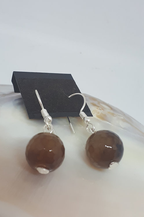 Silver plated faceted brown agate earrings