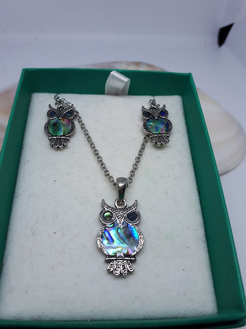Rhodium plated paua shell owl necklace and earring set
