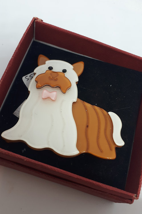 Acrylic dog brooch