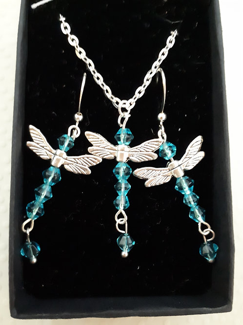 Silver-Plated Dragonfly Necklace and earring set