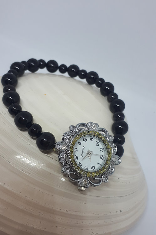 Black agate stretchy watch bracelet