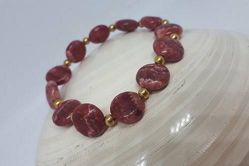 Gold plated Rhodochrosite stretchy bracelet