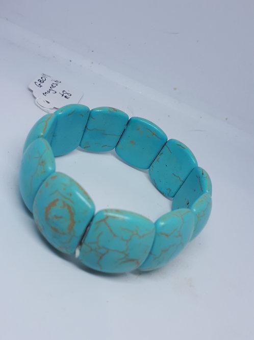 Blue dyed magnesite stretchy bracelet