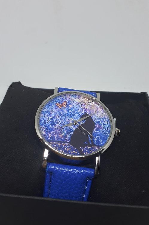 Ladies blue cat watch