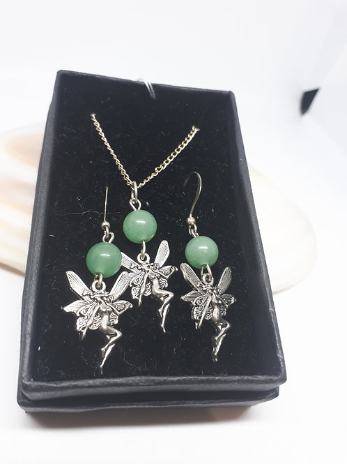 "silver-plated Fairy and Earring set - 16"" Chain"