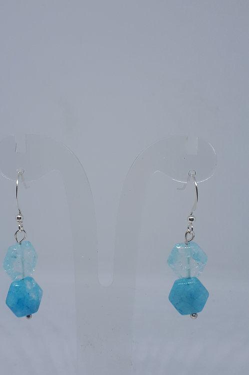 Silver plated blue crackled quartz hexagon earrings