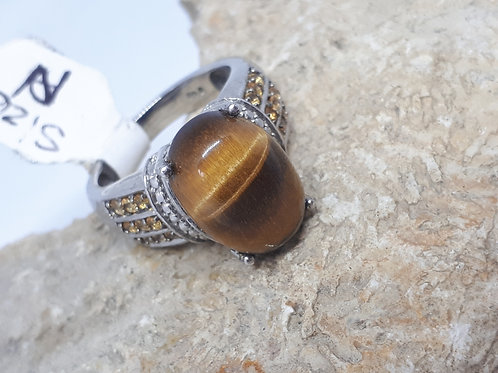 Silver plated tigers eye and yellow crystal ring - uk size N