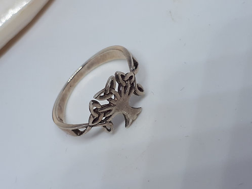 Sterling silver tree ring - UK size M