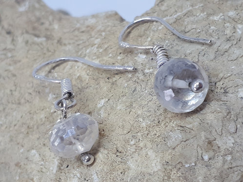 Sterling silver faceted clear quartz earrings