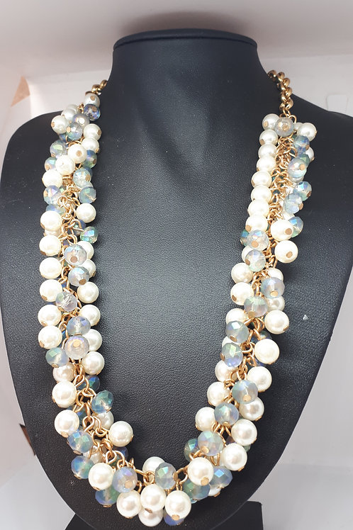 Gold tone faux pearl and blue crystal necklace