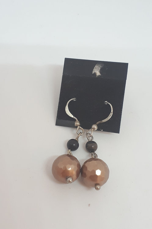 Silver plated bronzite and faceted brown shell pearl earrings