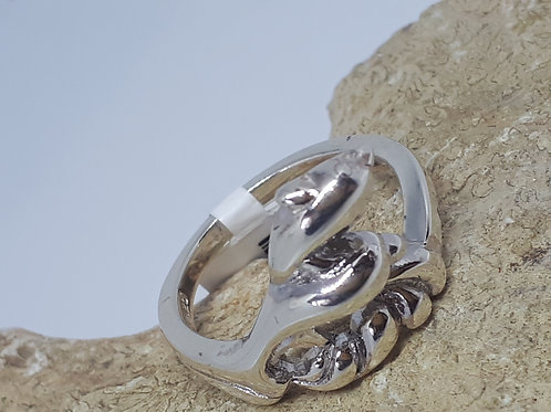 Sterling silver dolphin ring - size N