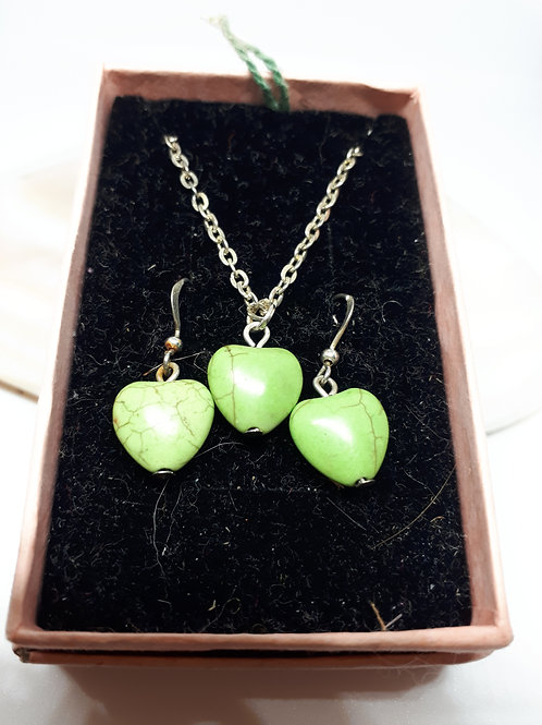 Dyed Howlite Heart necklace and earring set