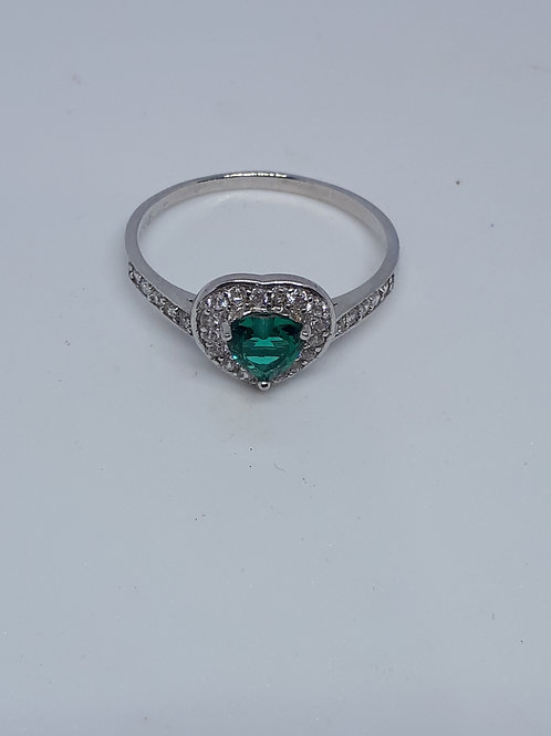 Sterling silver green and white crystal ring -UK size N