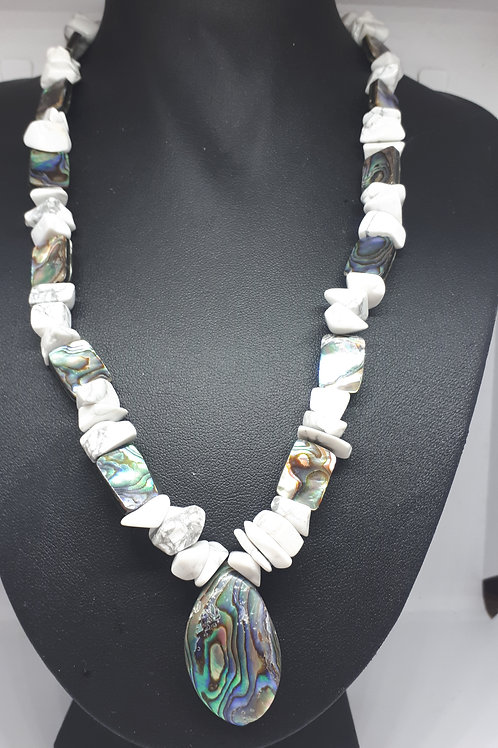 Silver plated white howlite and abalone shell necklace