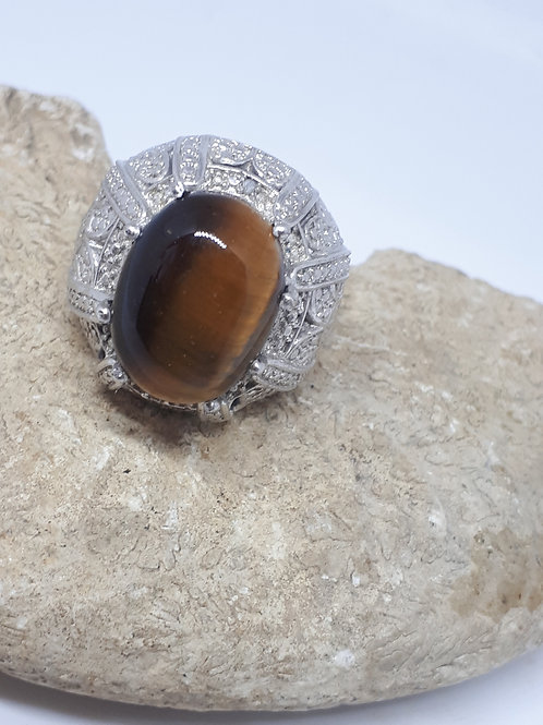 Silver plated tigers eye ring - size J