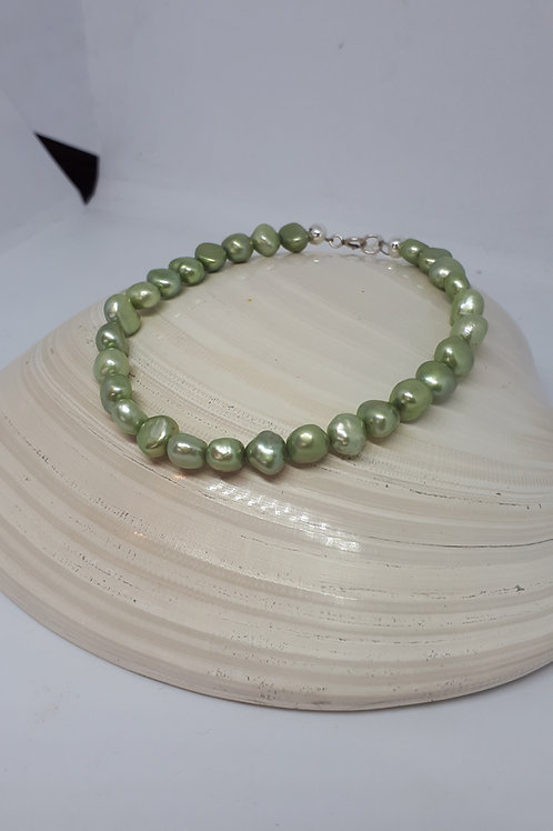 Silver plated green pearl bracelet