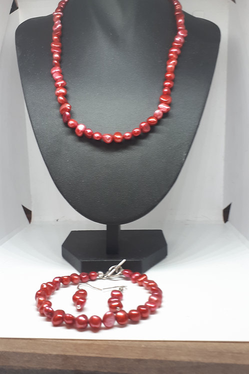 Silver plated dyed pearl set