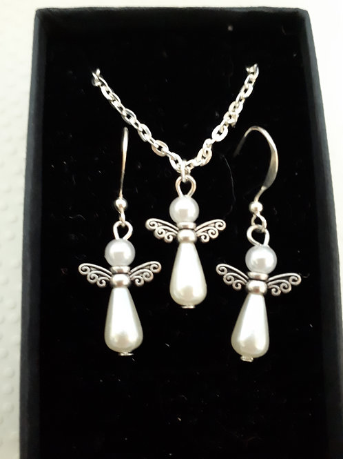 Silver-Plated Angel necklace and Earring set