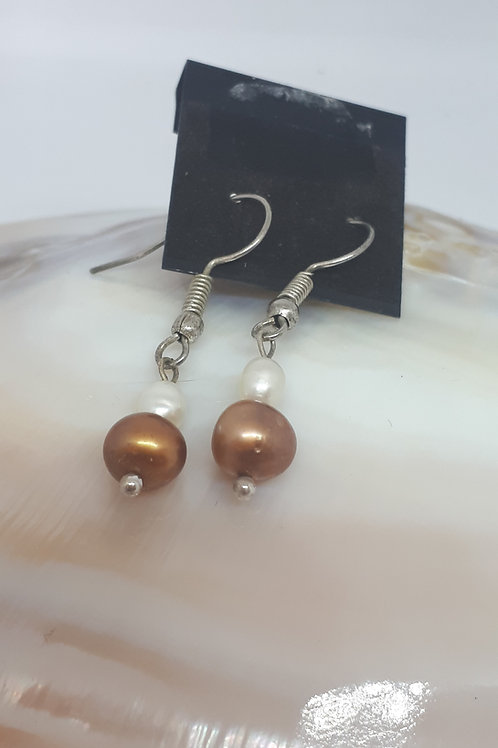 Silver plated white and brown pearl earrings