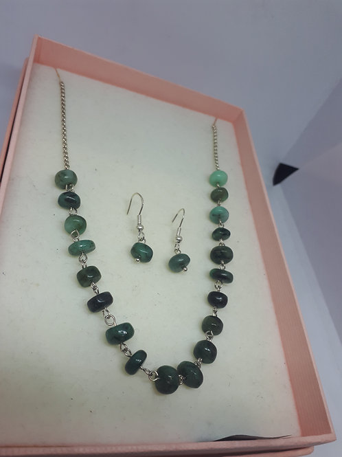 Sterling silver emerald necklace an earring set