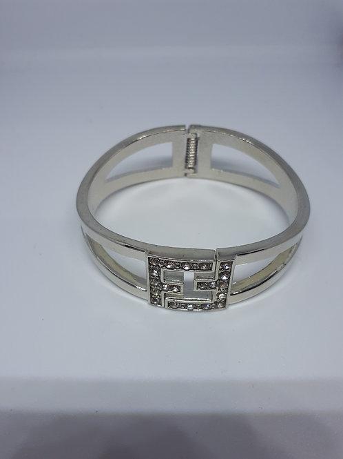 Silver tone diamante bangle