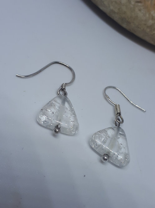 Sterling silver crackled quartz triangle earrings