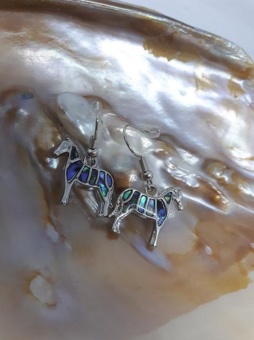 Silver-plated Abalone shell zebra earrings