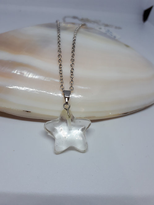 """Gemstone star silver-plated pendant necklace - 22"""" chain"""