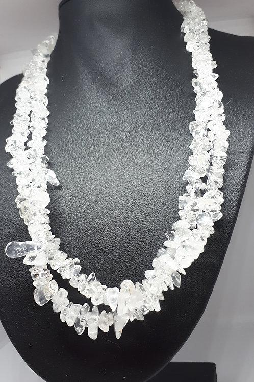 Clear quartz double strand necklace