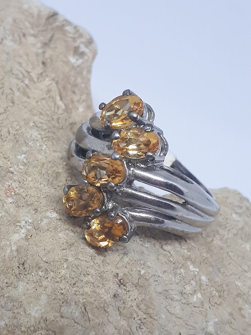 Silver plated citrine ring - uk ring size N