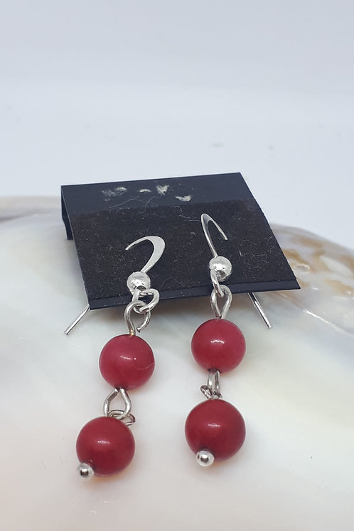 Silver plated coral earrings