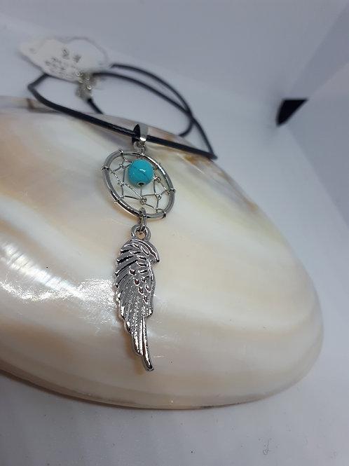 Blue dyed howlite dreamcatcher necklace