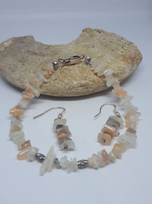 Sterling silver peach moonstone bracelet and earring set