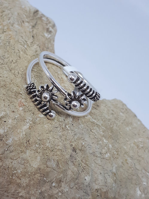 Sterling silver floral bypass ring
