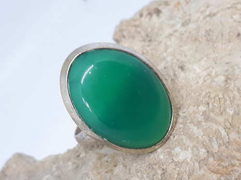 Silver plated green onyx ring - Size S