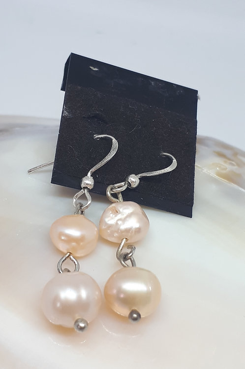 Silver plated cream pearl earrings