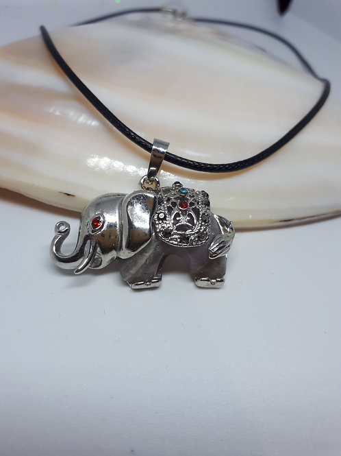 Silver-plated leatherette amethyst elephant