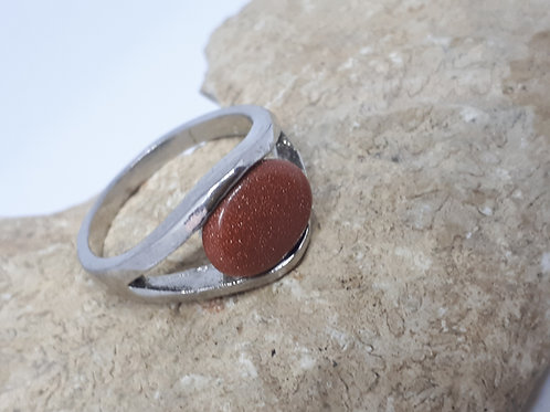 Silver plated goldstone ring - size N