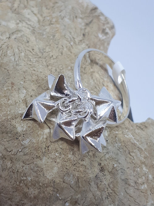 Sterling silver multi star charm ring - UK size P
