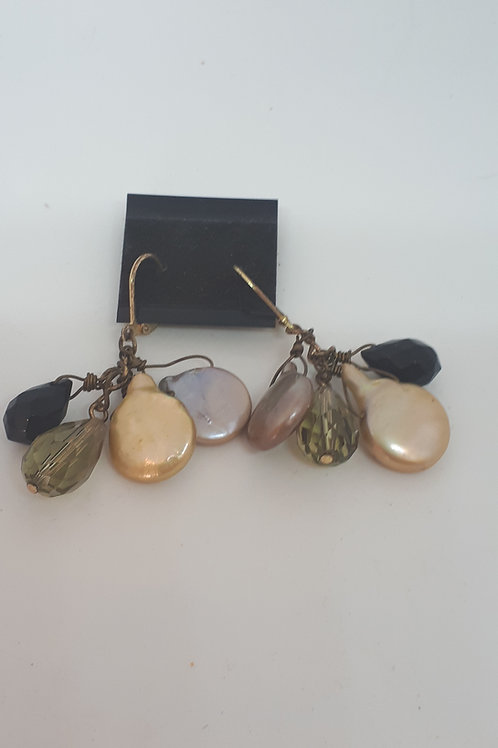 Gold plated keshi pearl coin earrings