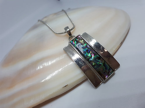 Abalone shell rhodium plated necklace