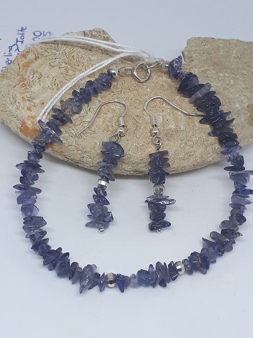 Sterling silver iolite bracelet and earring set
