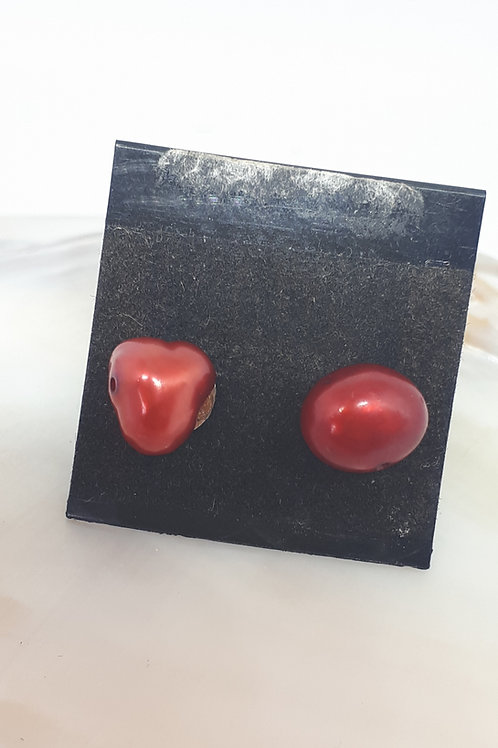 Silver plated pearl studs