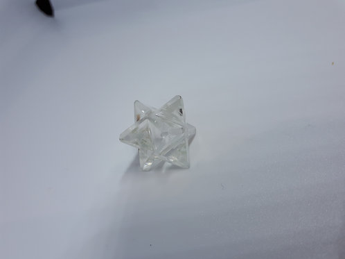 Clear quartz merkaba carved star