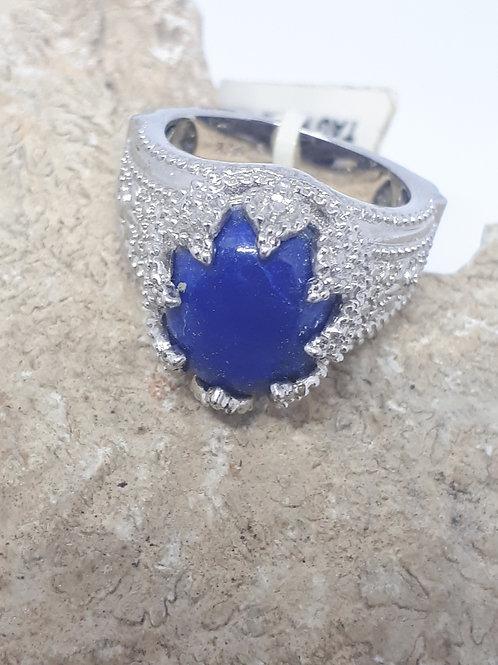 Silver plated lapis lazuli ring - uk ring size J
