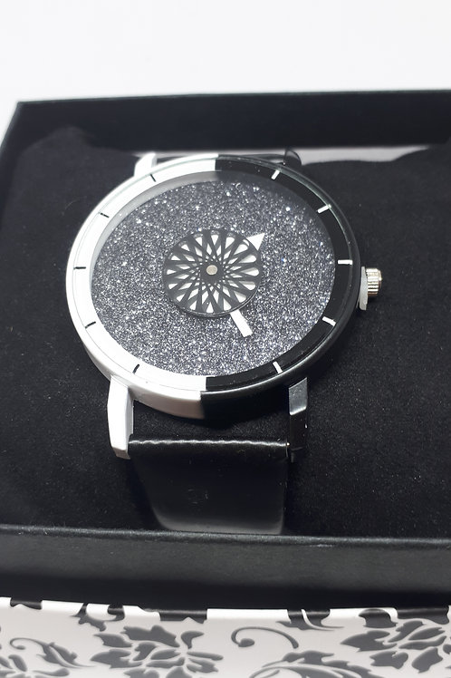 Ladies glitter black and white watch