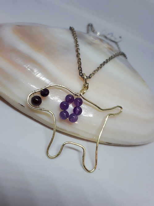 Silver plated wirework gemstone dog necklace
