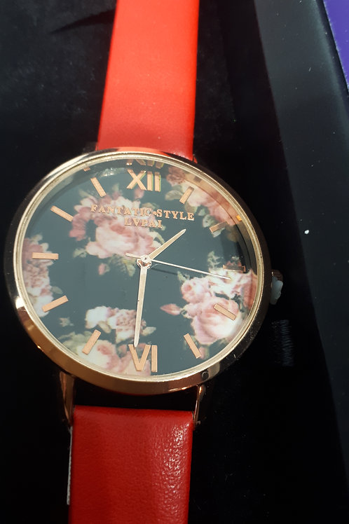 Ladies red floral watch