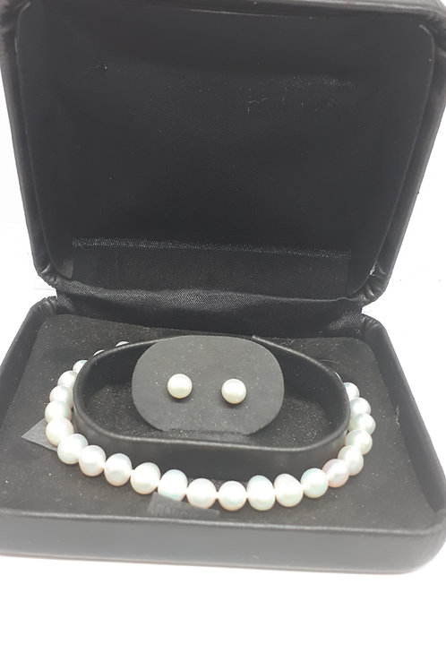 Silver tone white pearl bracelet and earring set